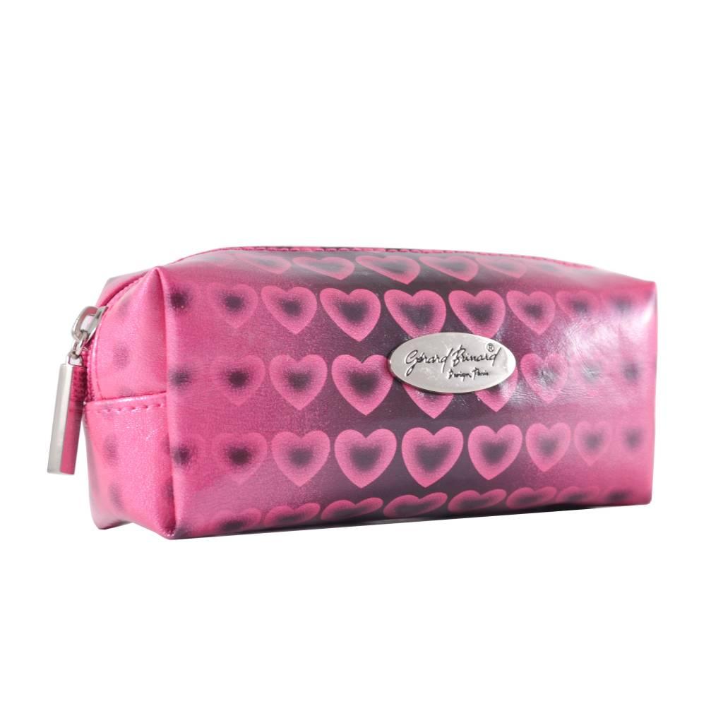Make-up boxje roze hartjes print, opbergen, tas, tasje, make-up, reizen