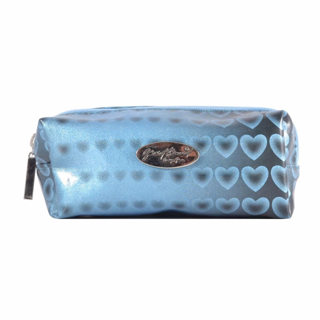 Make-up boxje Blauw hartjes print, opbergen, tas, tasje, make-up, reizen