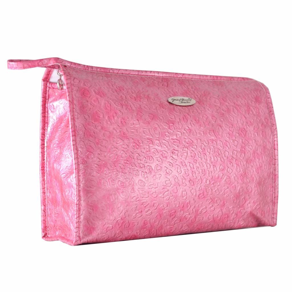 Luxe Toilettas Roze voelbare print, reizen, vakantie, beauty, opbergen