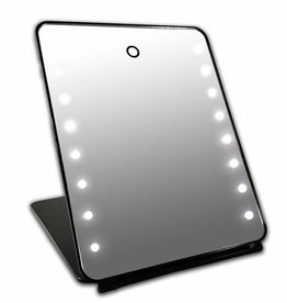 I-pad Make-up Spiegel zwart 16x LED met Touch Sensor| Accu