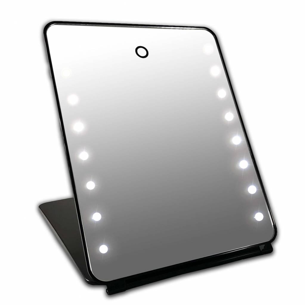 i pad make up spiegel zwart 16x led met touch sensor accu gerardbrinard. Black Bedroom Furniture Sets. Home Design Ideas