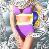 VALLEDORIA - HighWaist Bikini-Unterteil lila/gelb