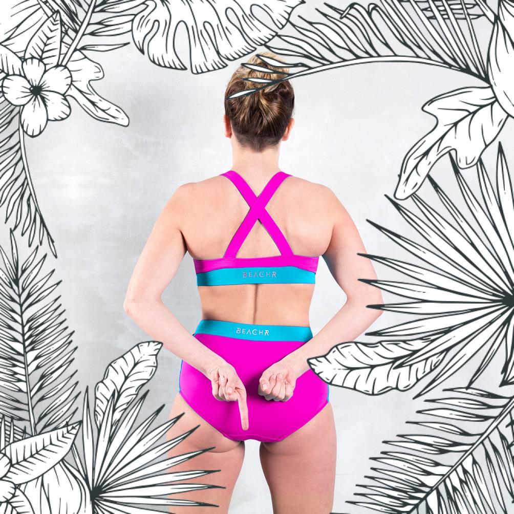 VALLEDORIA - HighWaist Bikini-Unterteil pink/türkis