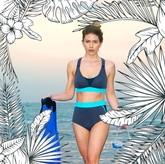 VALLEDORIA - HighWaist Bikini-Unterteil grau/türkis