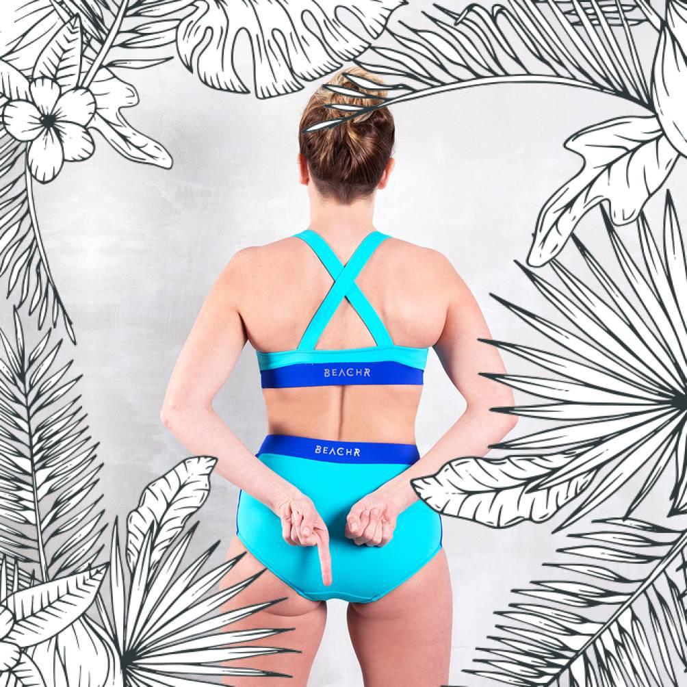 VALLEDORIA - HighWaist Bikini-Unterteil türkis/dunkelblau