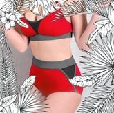 VALLEDORIA - HighWaist Bikini-Unterteil bordeaux/grau