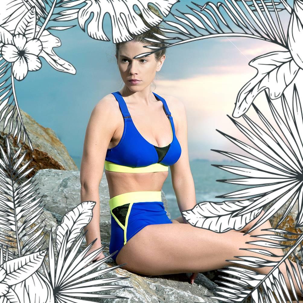 VALLEDORIA - HighWaist Bikini-Unterteil dunkelblau/gelb