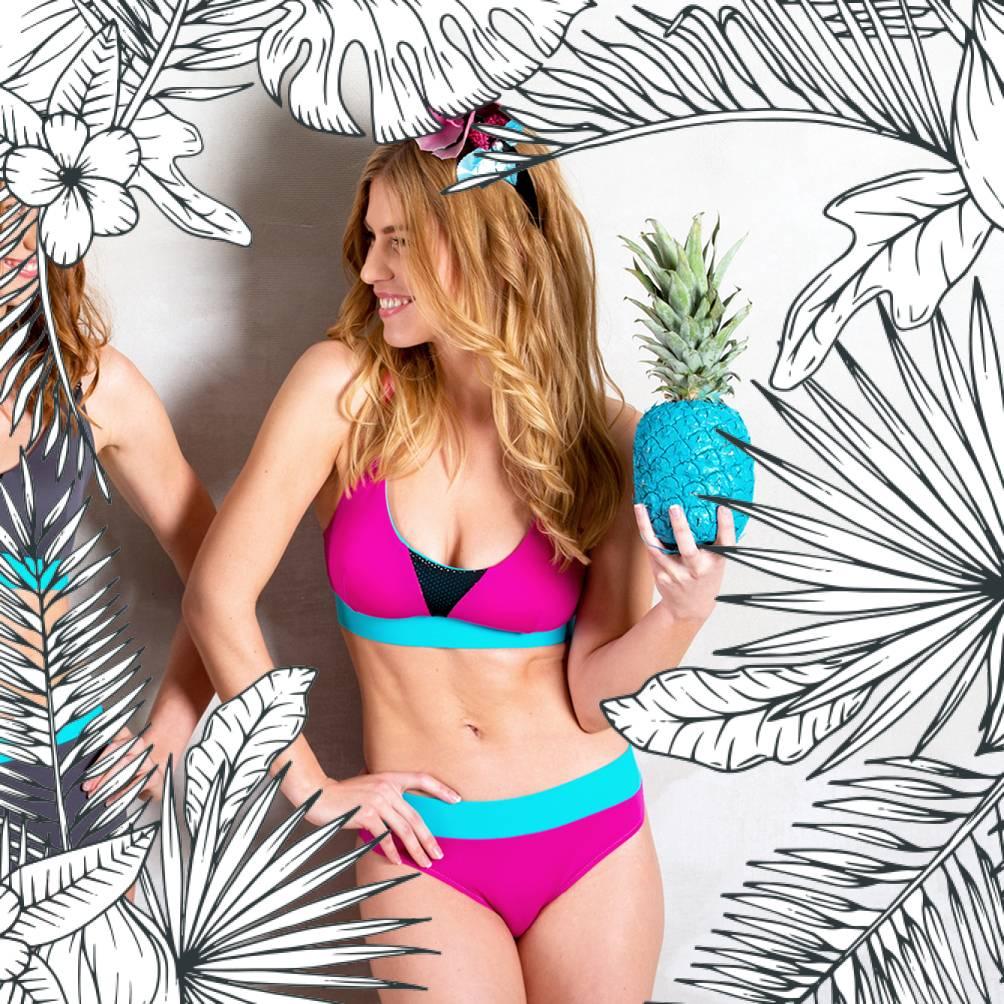 VIGNIOLA - Bikini-Oberteil pink/türkis