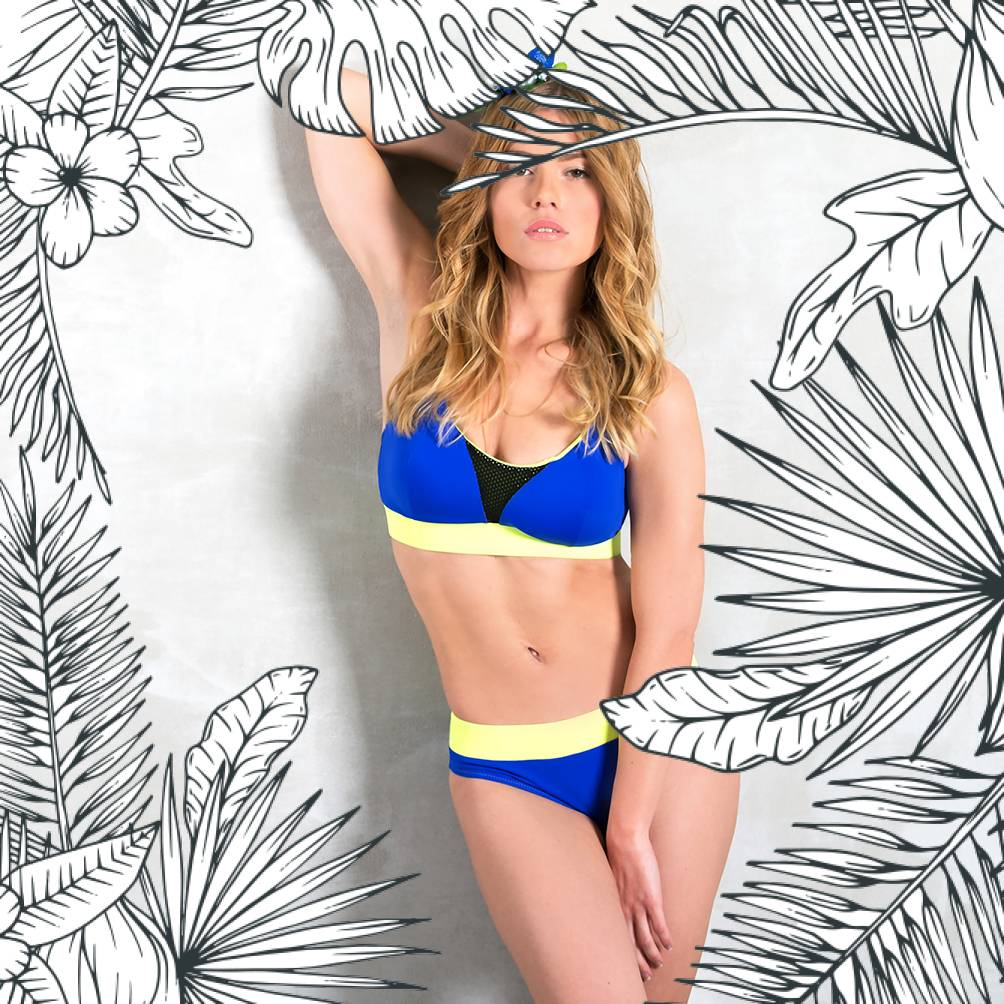 VIGNIOLA - Bikini-Oberteil dunkelblau/gelb