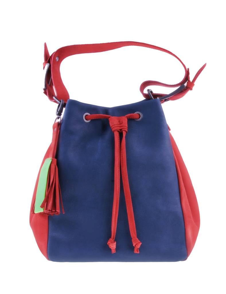 PRETTY&FAIR Blue/red shoulder bag - Nobuck Bricke - Nobuck Petrol - BAG 4707
