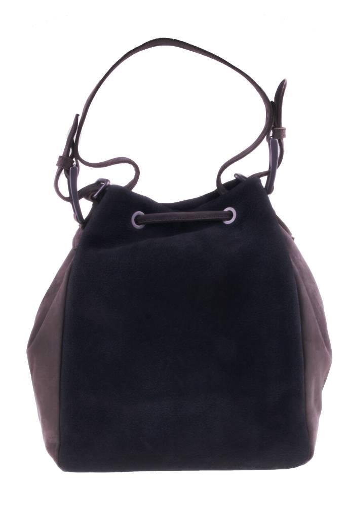 PRETTY&FAIR Zwart/taupe schoudertas - Nobuck Black - Nobuck Taupe - BAG 4707