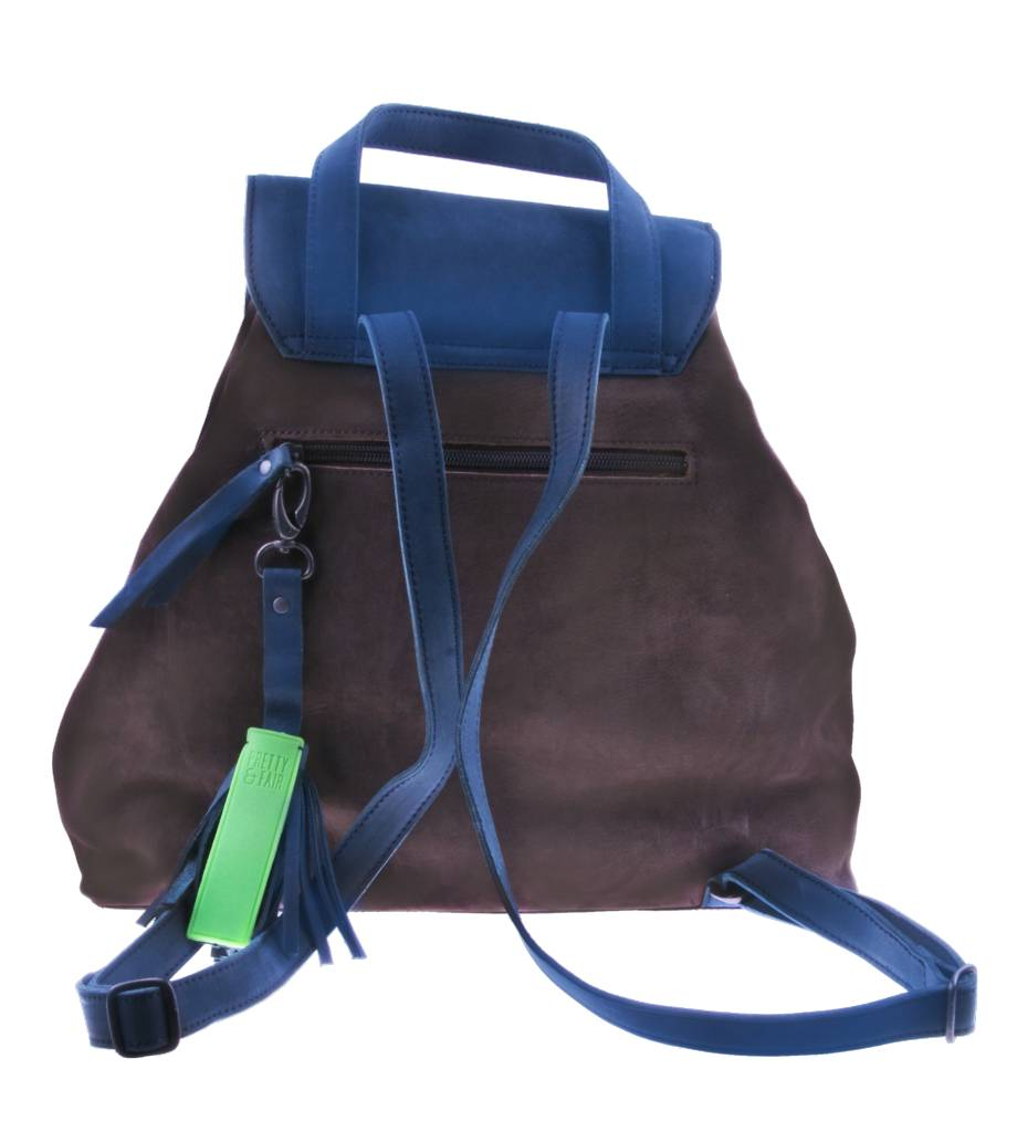 PRETTY&FAIR Brown/blue backpack - Nobuck Taupe - Nobuck Petrol - BAG 4705