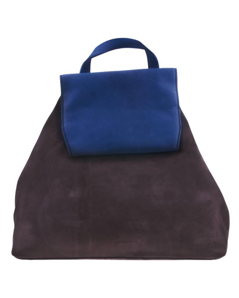 PRETTY&FAIR Bruin/blauwe backpack - Nobuck Taupe - Nobuck Petrol - BAG 4705