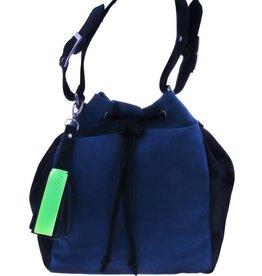 Zwart/blauwe schoudertas - vegan - BAG 4707-V