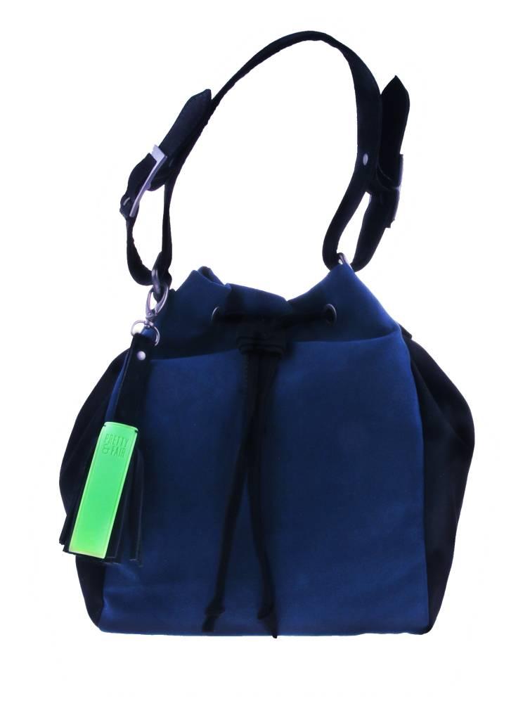 Zwart/blauwe schoudertas - vegan - BAG 4707-VBAG 4707 from PRETTY&FAIR