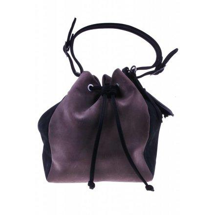 Taupe/black shoulder bag - BAG 4707