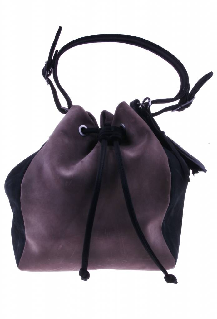 PRETTY&FAIR Taupe/black shoulder bag - Nobuck Taupe -  Nobuck Black - BAG 4707