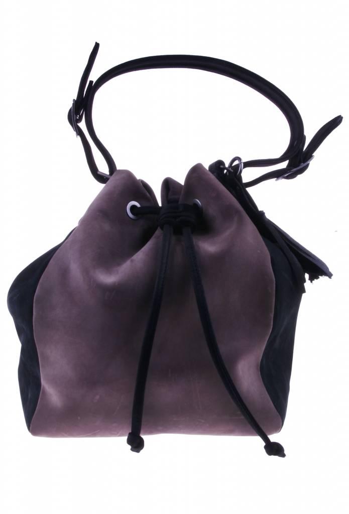 PRETTY&FAIR Taupe/zwart schoudertas - Nobuck Taupe -  Nobuck Black - BAG 4707