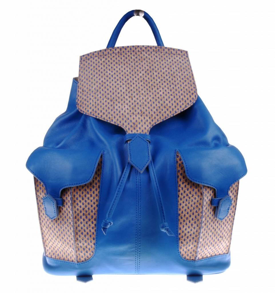 PRETTY&FAIR Blue backpack with cork - BAG 2159