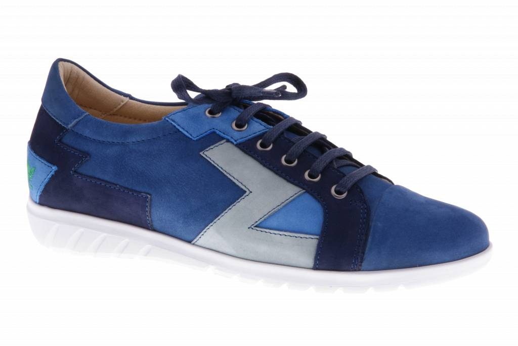 Blauwe sneakers met patchwork - Combi Nobuck Jeans - PF2016 from PRETTY&FAIR