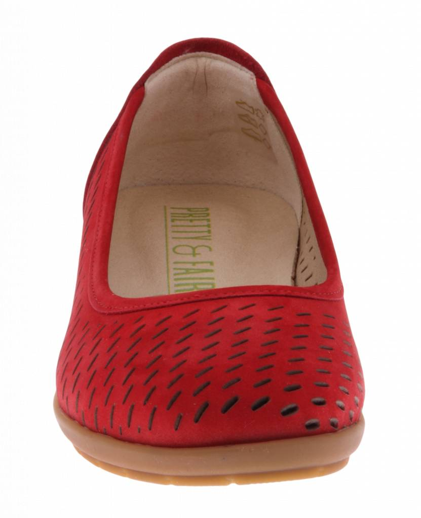 PRETTY&FAIR Red ballerina's - Nobuck Red - PF2011