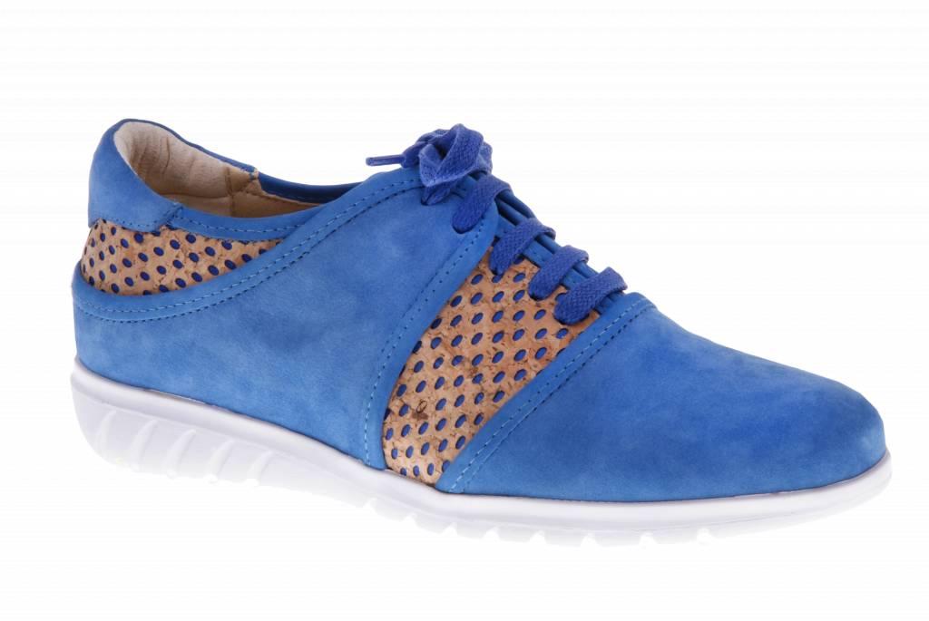 Blauwe sneakers met kurk - Nobuck Cobalt - Oreo Blue - PF2003 from PRETTY&FAIR