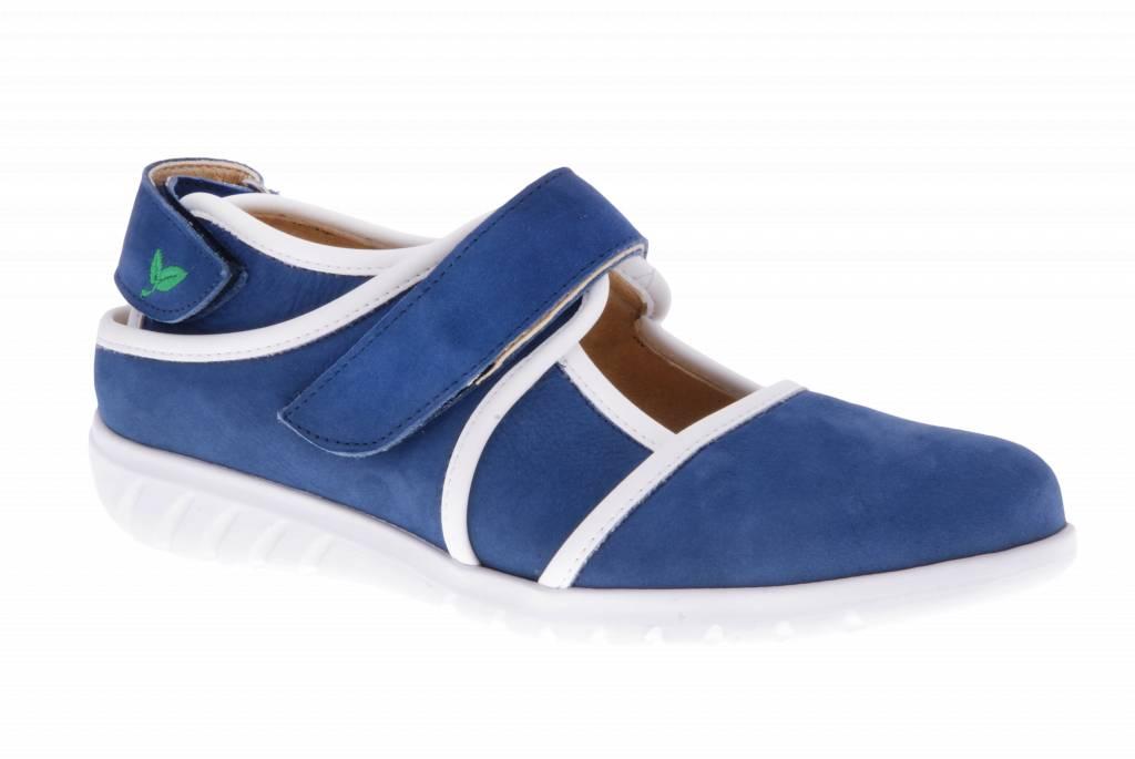 Blauwe klittenband schoen -  Nobuck Jeans - Nappa White - PF2002 from PRETTY&FAIR