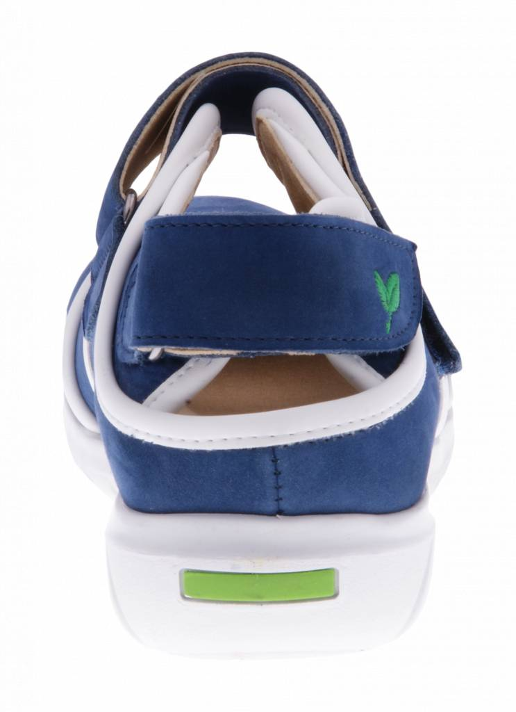 PRETTY&FAIR Blue velcro shoes -   Nobuck Jeans - Nappa White - PF2002