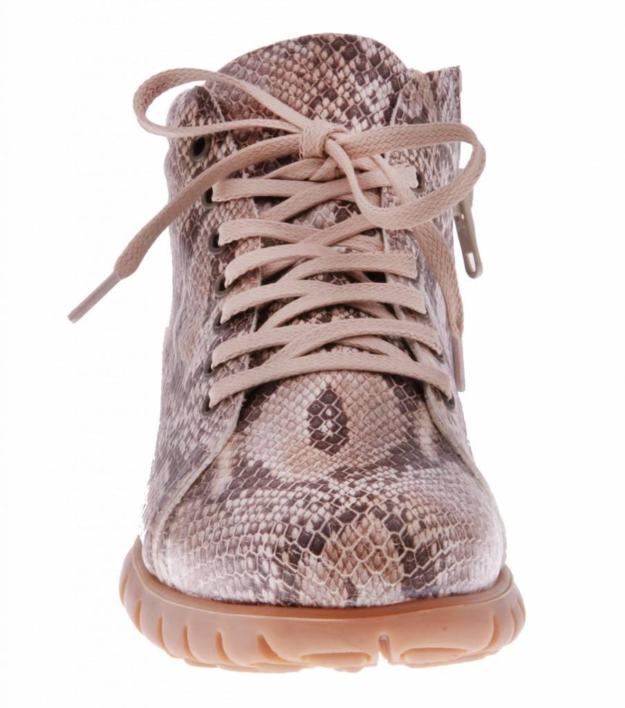 PRETTY&FAIR Ankle booty with python print- vegan - Taipan Camel - PF2013-V