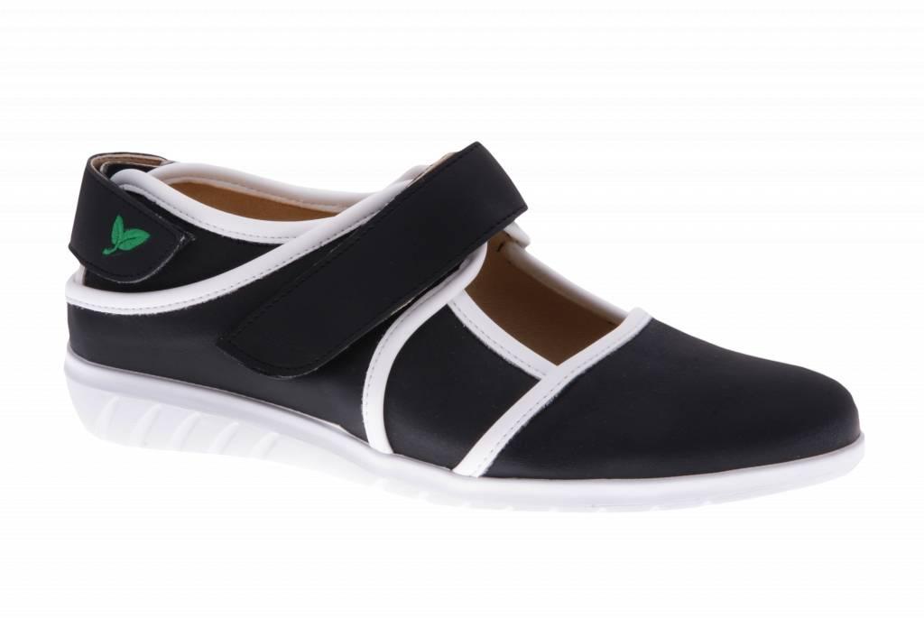 Zwarte klittenband schoen - vegan - Dalia Black - Nappa White - PF2002-V from PRETTY&FAIR