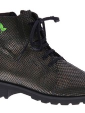 Metallic green laced ankle booty - vegan - PF001