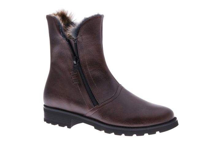 PRETTY&FAIR Stylish brown boots with zipper - vegan - Microsport Brown - PF008-V
