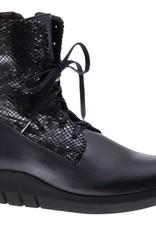 PRETTY&FAIR Stoere zwarte veterlaars - vegan - Microsport Black - Metallic Black - PF3001-V