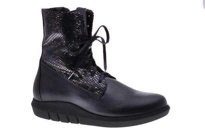 PRETTY&FAIR Cool black laced boots - vegan - Microsport Black - Metallic Black - PF3001-V