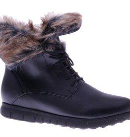 Stoere zwarte enkellaars met faux-fur - vegan - PF3008-V