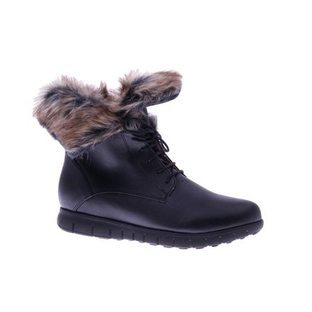 Cool black ankle booty with faux-fur - vegan - PF3008-V