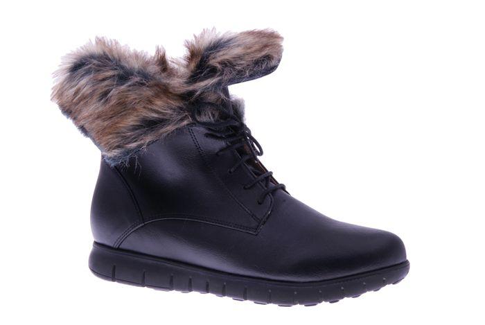 PRETTY&FAIR Cool black ankle booty with faux-fur - vegan - Microsport Black - Faux Fur - PF3008-V
