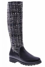 PRETTY&FAIR Hoge zwarte laars met stof - Microsport Black - Litzy Black - PF3004