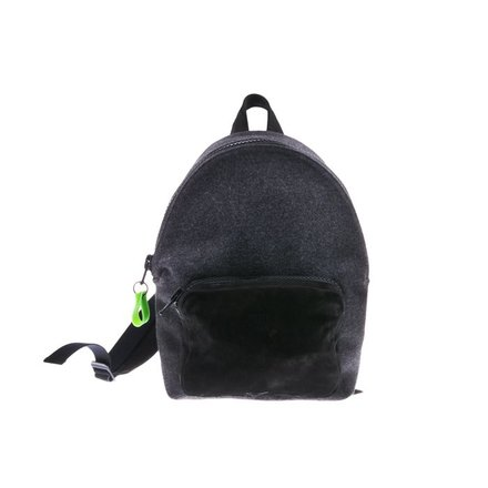 Black with grey velt backpack
