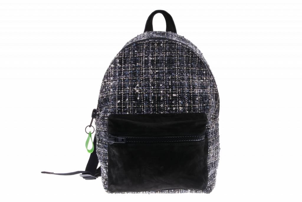 Zwart met stoffen backpack - Backpack Litzy Black - Nobuck Black from PRETTY&FAIR