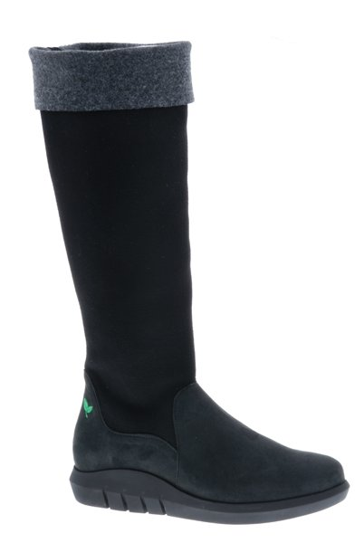 Hoge zwart/grijze laars - vegan - Nobuck Black - Velt Grey/Black - PF3012-V from PRETTY&FAIR