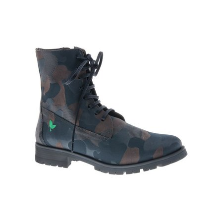 Cool brown combat laced boots - vegan - PF3001-V