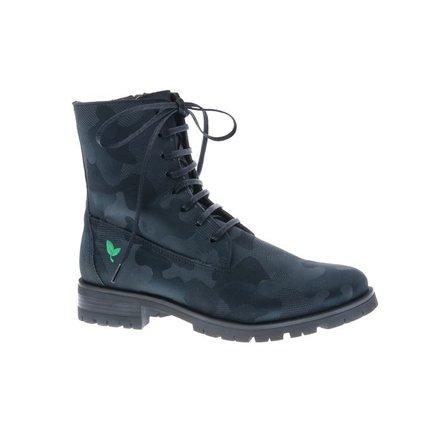 Cool black combat laced boots - vegan - PF3001-V