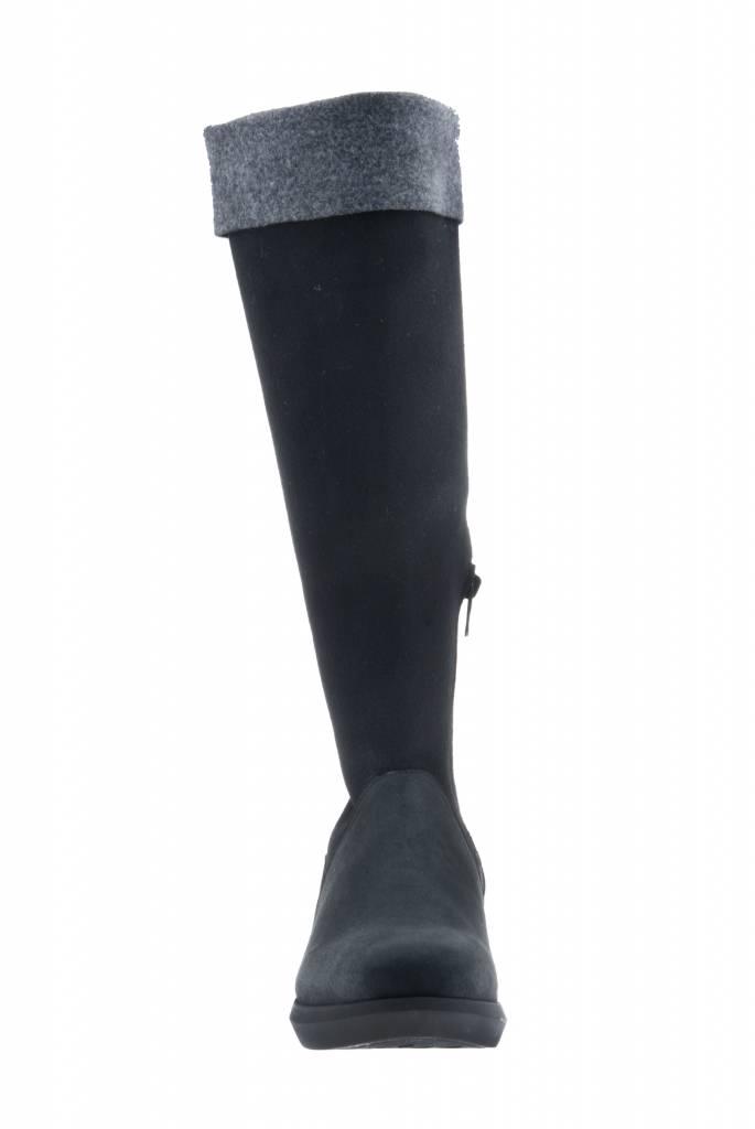 PRETTY&FAIR Hoge zwart/grijze laars - vegan - Nobuck Black - Velt Grey/Black - PF3012-V