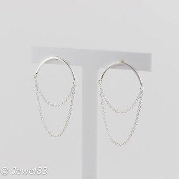 925e Silver circle chain earrings