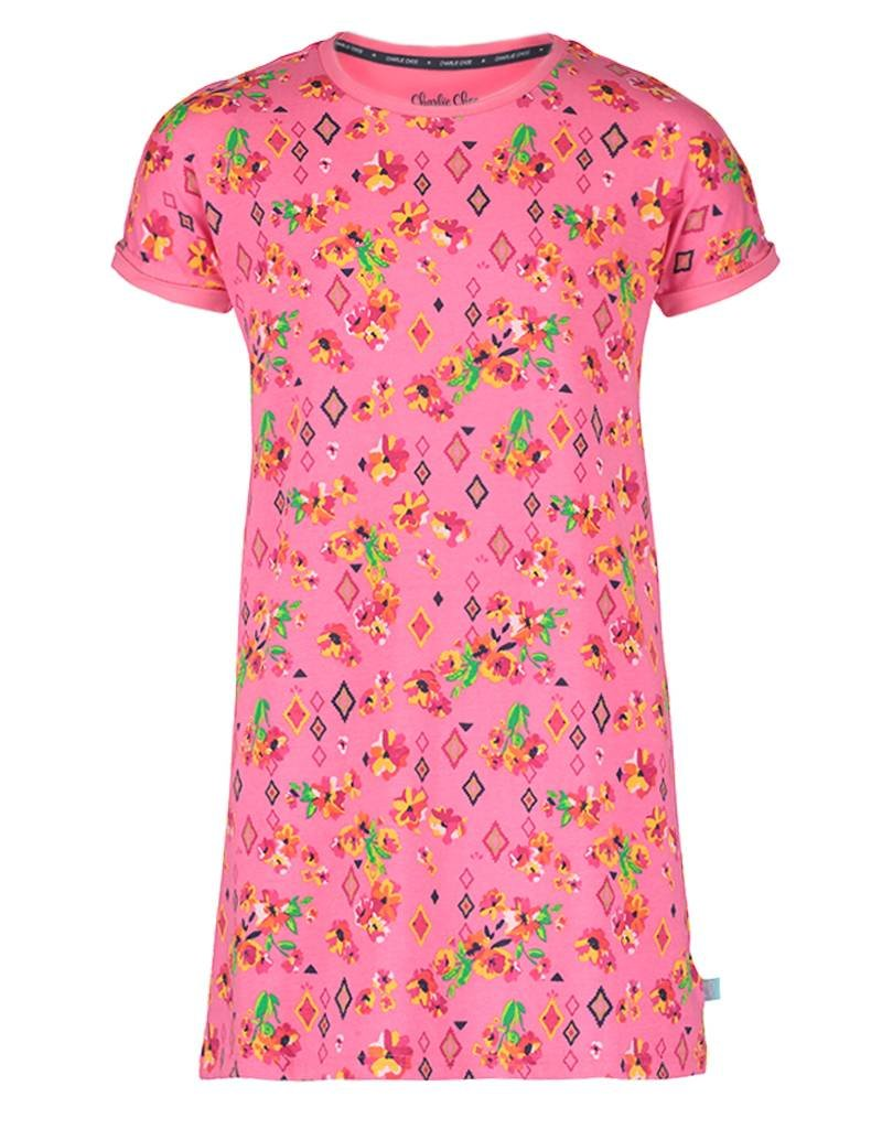 Short Sleeve Dress Boho Flowers