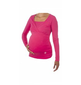 MATERNITY PYJAMA SHIRT LS RASPBERRY
