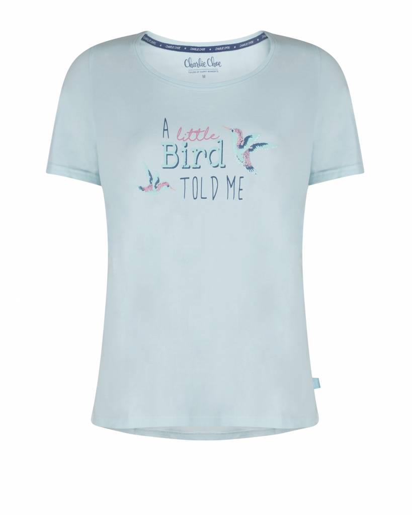 Ladies pyjama T-shirt Little Bird Blue Glow | Charlie Choe
