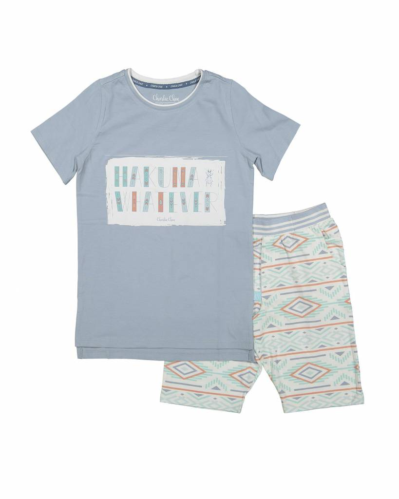 Jungen Pyjama Short Set (long) Hakuna Whatever Vibes | Charlie Choe