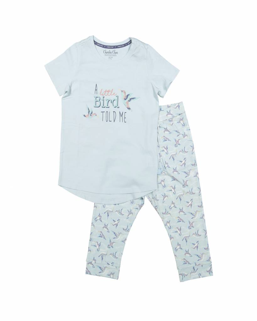 Girls 3/4 pyjama set Little Bird Blue Glow | Charlie Choe